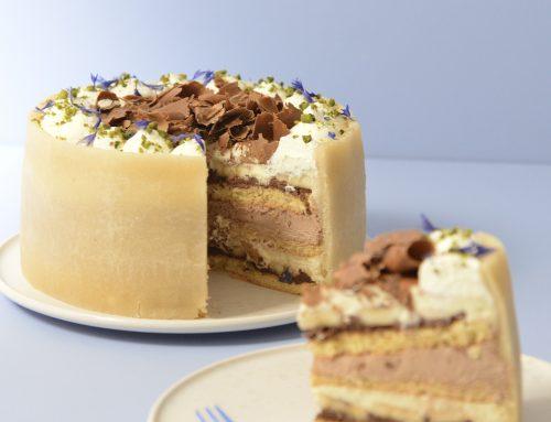 Fødselsdagslagkage med vanilje, chokolade og banan